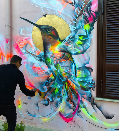 Figures of Birds Emerge from a Kinetic Flurry of Spray Paint | Art for art's sake... | Scoop.it