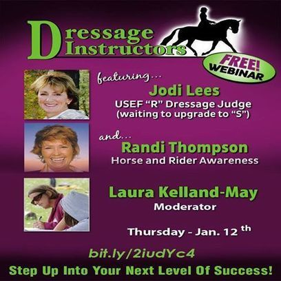 FREE Dressage Instructors Webinar. Jan 12th. Register today to join us live (and chat with us!) or to listen to the replay. bit.ly/2iudYc4 | Horse and Rider Awareness | Scoop.it