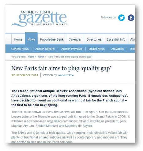 New Paris Fair Aims To Plug Quality Gap Antiques Trade Gazette