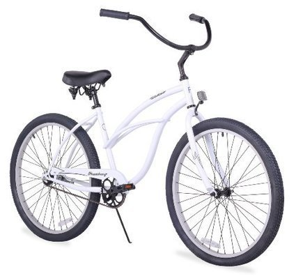 BICYCLE BASKET FAUX RATTAN WEAVE WHITE CRUISER CHOPPER COMFORT BIKES