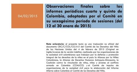 Observaciones finales sobre los informes periódicos cuarto y quinto de Colombia.pdf | Educar con TIC | Scoop.it