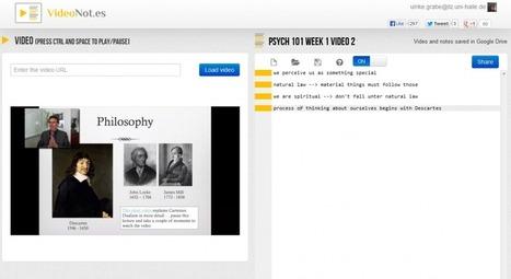 VideoNot.es – Ein nützliches Tool, um Mitschriften zu Lehrvideos anzufertigen | Useful Tools for E-Learning | Scoop.it