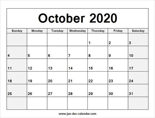 October Calendar 2020 Printable.Blank Printable October Calendar 2020 Temp