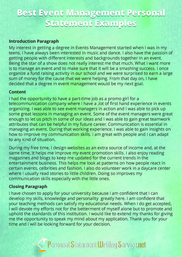 Event Management Personal Statement Example