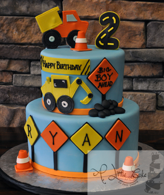 Strange Construction Themed 2Nd Birthday Cake Cakes F Personalised Birthday Cards Veneteletsinfo