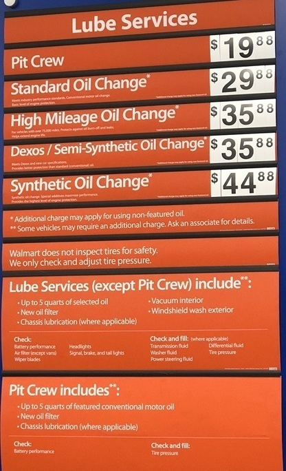Walmart Oil Change Price >> Walmart Oil Change Prices 2019 Walmart Auto C