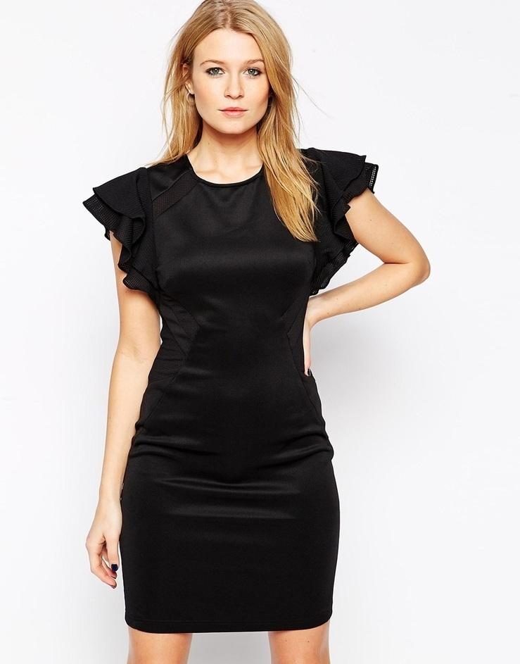 Black Mini Dress Nude Ruffle Sleeve Right Now D... 91b2c587429