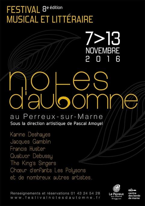 (agenda) du 7 au 13 novembre, Le Perreux-sur-Marne, 8e Festival musical et littéraire Notes d'Automne | Muzibao | Scoop.it