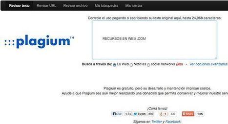 Plagium: busca y detecta plagios o contenidos copiados de internet | Paco-Benarque | Scoop.it