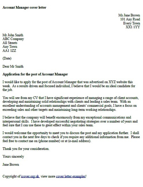 Account Manager Cover Letter Example - Icover.O