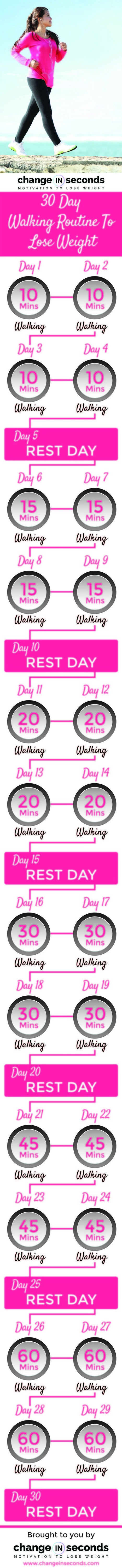 30 Day Walking Routine To Lose Weight (Download PDF) | One Step at a Time | Scoop.it