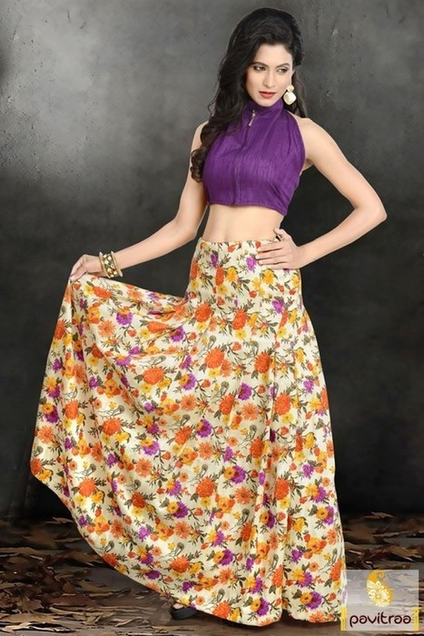 Purple And Yellow Crop Top With Long Skirt | On...
