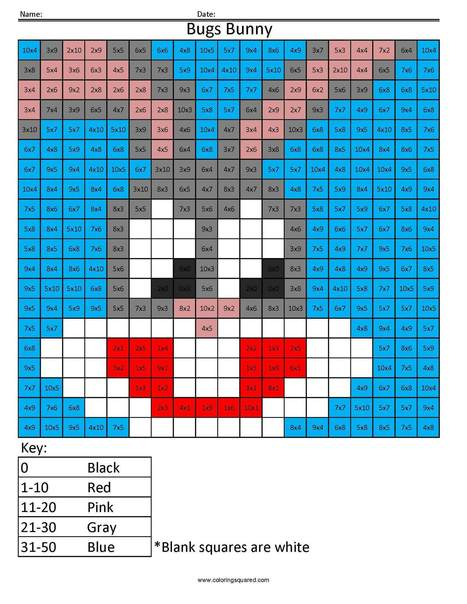 Amazing Cartoon  Multiplication And Division   Coloring Squared