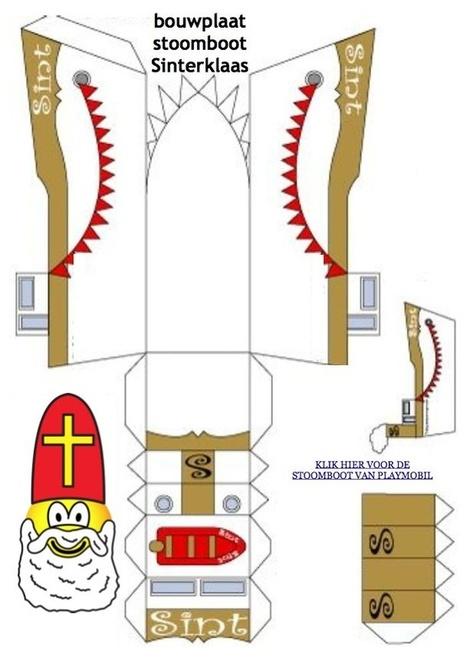 Eenvoudige bouwplaat van de stoomboot van Sinterklaas | Sinterklaasfeest, feest met Sint Nicolaas, Zwarte Piet en goochelaar in voorprogramma | Scoop.it