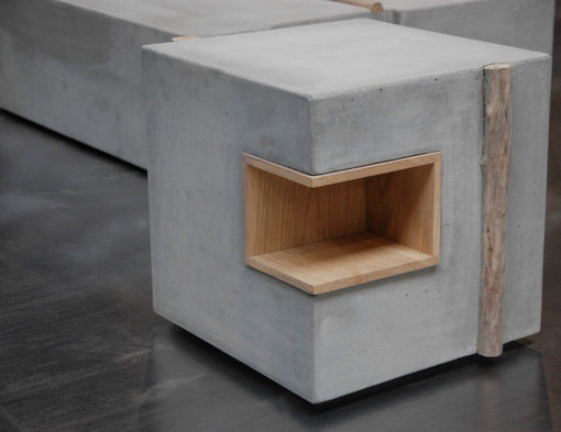 Zatara furniture made of concrete and driftwoo - Table beton cellulaire ...