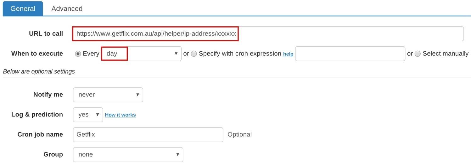 How to set up cron job for Getflix IP Update |
