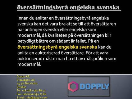 översättningsbyrå engelska svenska