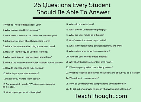 26 Questions Every Student Should Be Able To Answer | Dalhousie ESL Programs | Scoop.it