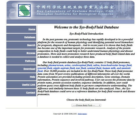Sys-BodyFluid - a body fluid database | bioinformatics-databases | Scoop.it