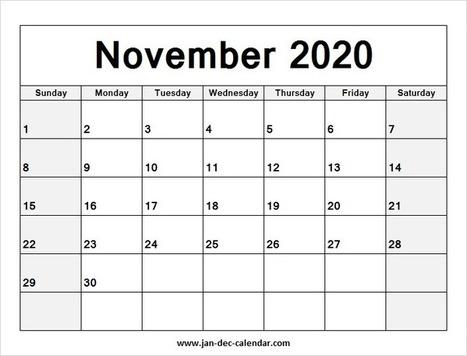 November Calendar 2020 Printable.Blank Printable November Calendar 2020 Tem