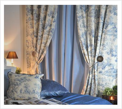 rideaux bleu toile de jouy 140x300cm pr t. Black Bedroom Furniture Sets. Home Design Ideas