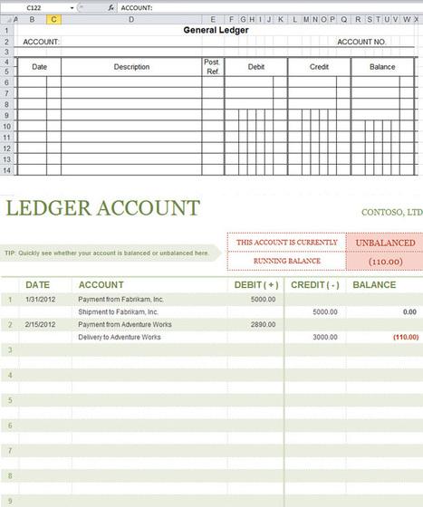 financial ledger excel