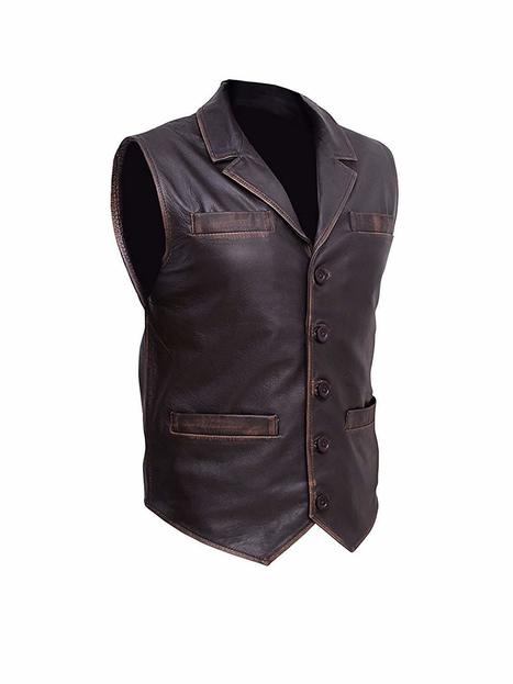 Men/'s Hell on Wheels Celebrities Look Cullen Bohannan Distress Real Leather Vest