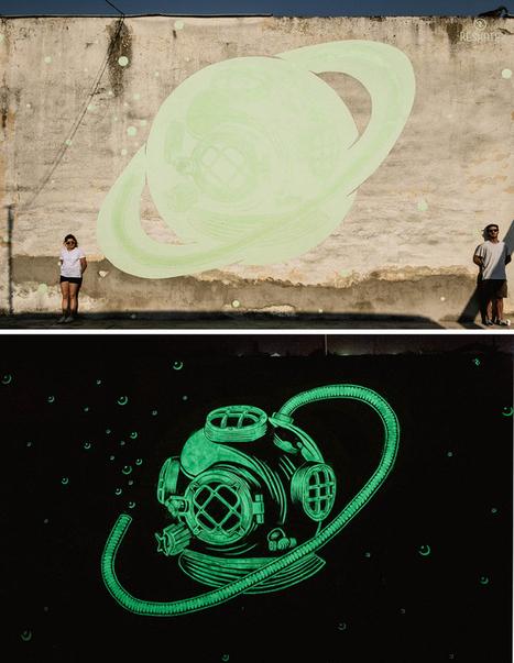 Attention : une œuvre peut en cacher une autre ! Reskate fait du street-art phosphorescent ! | Lumières de la Ville | Animer la ville | Scoop.it