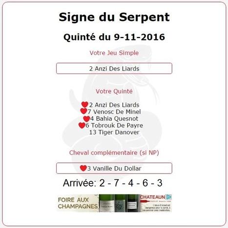 2 548.40€ pour l'année du Serpent au Tiercé-Quarté-Quinté+ du 09/11 à Nantes. | Pariez avec ASTROQUINTE | Scoop.it