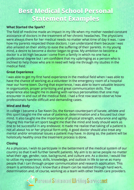 good medical school personal statements