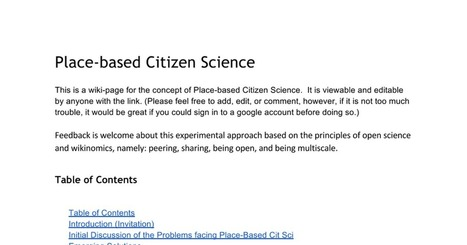 Place-Based Citizen Science- Wiki Page | Data Driven Intelligence | Scoop.it