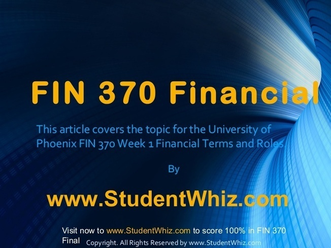 fin 370 version 7 week 3 Fin 370 week 3 assignment: a well-known company like berkshire hathaway understands the importance of maintaining its financial health the current ratio does precisely that it measures the liquidity of the business and can give a sense of the efficiency of a company's operating cycle or its ability to turn its product into cash.