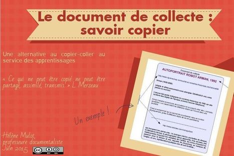 """Le document de collecte : un """"savoir copier"""" - L'odyssée d'Ln : je tisse m@ toile   Le document de collecte   Scoop.it"""