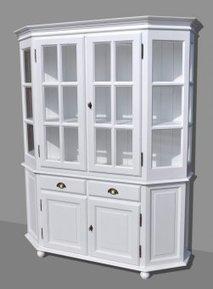 Buffetschrank Vitrine NAPOLI Weiß H200cm Pinie Massiv | Dekoration Landhaus  | Online Kaufen