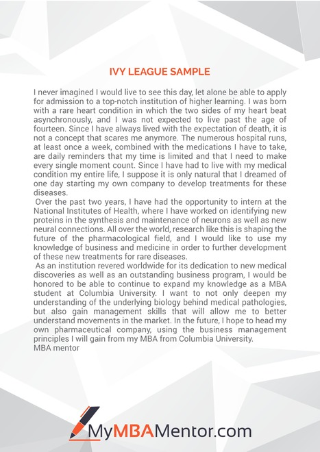 Mba Admission Essay  Scoopit Ivy League Essay Sample  Mba Admission Essay  Scoopit