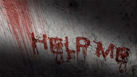 scary blood text effect with wall scrawled with