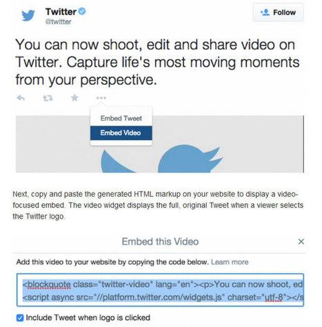 Twitter permet maintenant d'intégrer ses vidéos dans une page web - Presse-citron (Blog) | Technologies & web - Trouvez votre formation sur www.nextformation.com | Scoop.it