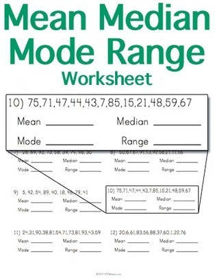 Mean Median Mode Range Worksheet Math Workshe