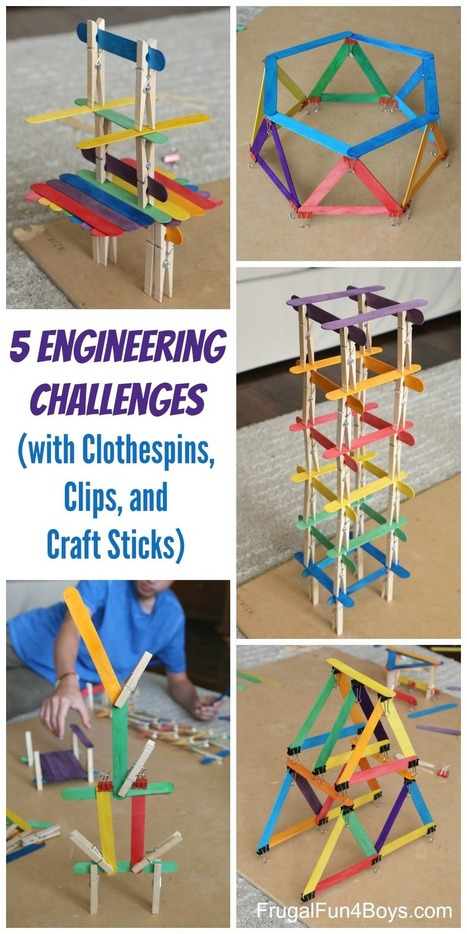 5 Engineering Challenges with Clothespins, Binder Clips, and Craft Sticks - Frugal Fun For Boys | Edu Technology | Scoop.it