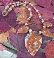 Brecciated Jasper Natural Stone Carved Leaves Necklace | Draped in Stone Jewelry | Scoop.it