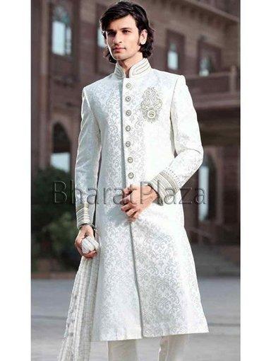 White Pakistani Sherwani New Fashion For Groom 2014