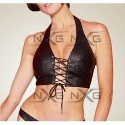Lace Up Front Leather Halter | online shopping | Scoop.it