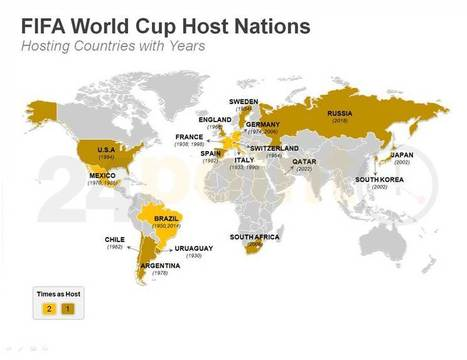 FIFA World Cup Host Nations Map - Editable PPT | PowerPoint Presentation Tools and Resources | Scoop.it