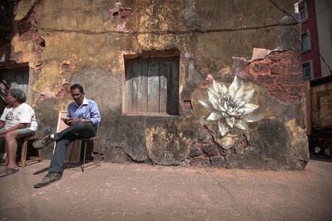 #Lotus #Blossoms by Faith47 Sprout on the #Streets of #Goa, #India. #streetart #art #flowers | Luby Art | Scoop.it