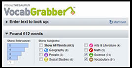 VocabGrabber: Generate Vocabulary Lists from Digital Text ~ Cool Tools for 21st Century Learners | Vocabulary Instruction | Scoop.it