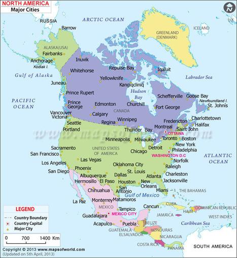 Major Cities of North America\' in maps | Scoop.it