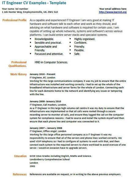 IT Engineer CV Example   UK Job Vacancies
