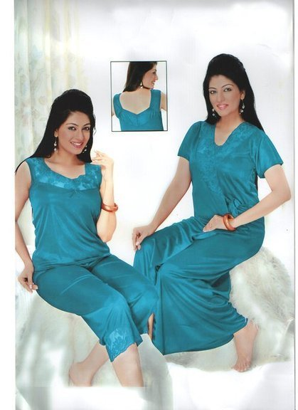 a06e594eb8 Indiatrendzs Silk Satin Nighty 3 pc Sets Teal Blue Bedroomwear -Free Size   Amazon.in  Clothing   Accessories