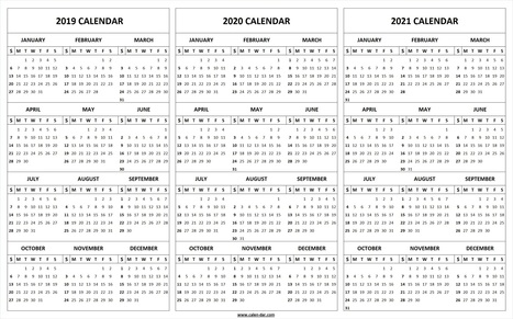 printable 2019 2020 2021 calendar template 3 year editable calendar
