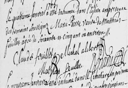 4 janvier 1705 : inhumation de Marie-Pierre veuve de Matthias  FEUILLET | CGMA Généalogie | Scoop.it